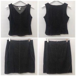 Ann Taylor LOFT Black Stretch Denim Tank & Skirt